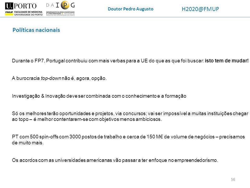 Doutor Pedro Augusto H2020@FMUP Políticas nacionais Durante o FP7, Portugal contribuiu com mais verbas para a UE do que as que foi buscar: isto tem de