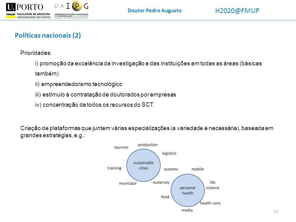 Doutor Pedro Augusto H2020@FMUP Políticas nacionais (2) Prioridades: i) promoção da excelência da investigação e das instituições em todas as áreas (b