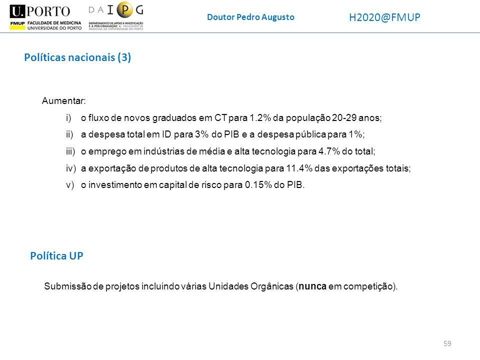 Doutor Pedro Augusto H2020@FMUP Aumentar: i)o fluxo de novos graduados em CT para 1.2% da população 20-29 anos; ii)a despesa total em ID para 3% do PI