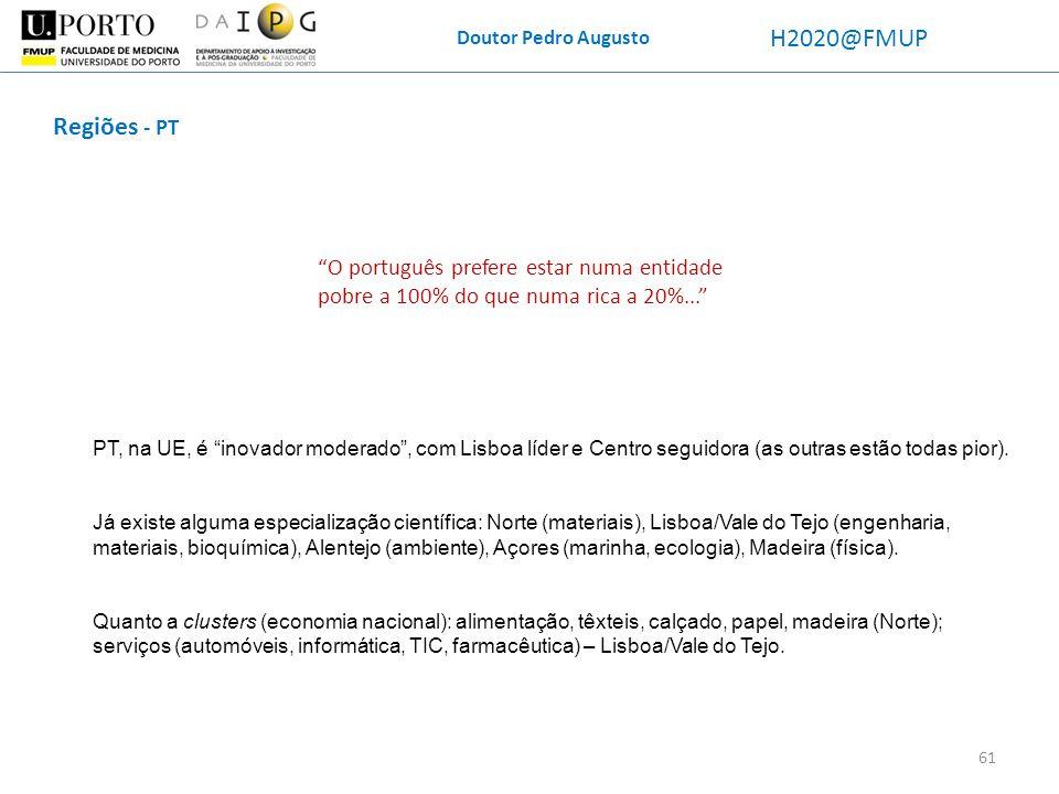 Doutor Pedro Augusto H2020@FMUP Regiões - PT PT, na UE, é inovador moderado, com Lisboa líder e Centro seguidora (as outras estão todas pior). Já exis