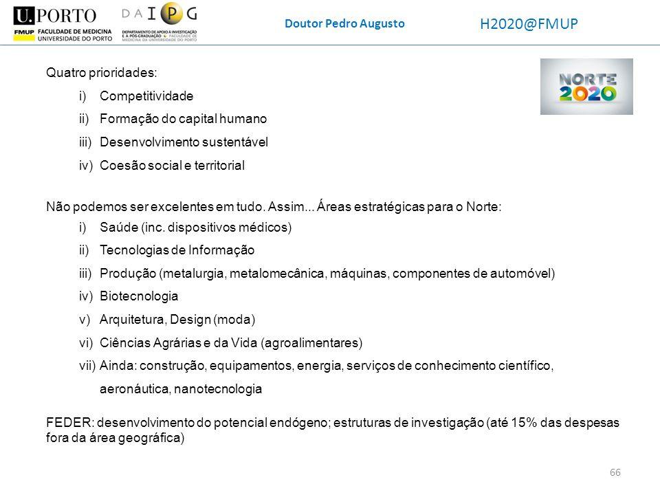 Doutor Pedro Augusto H2020@FMUP Não podemos ser excelentes em tudo. Assim... Áreas estratégicas para o Norte: i)Saúde (inc. dispositivos médicos) ii)T