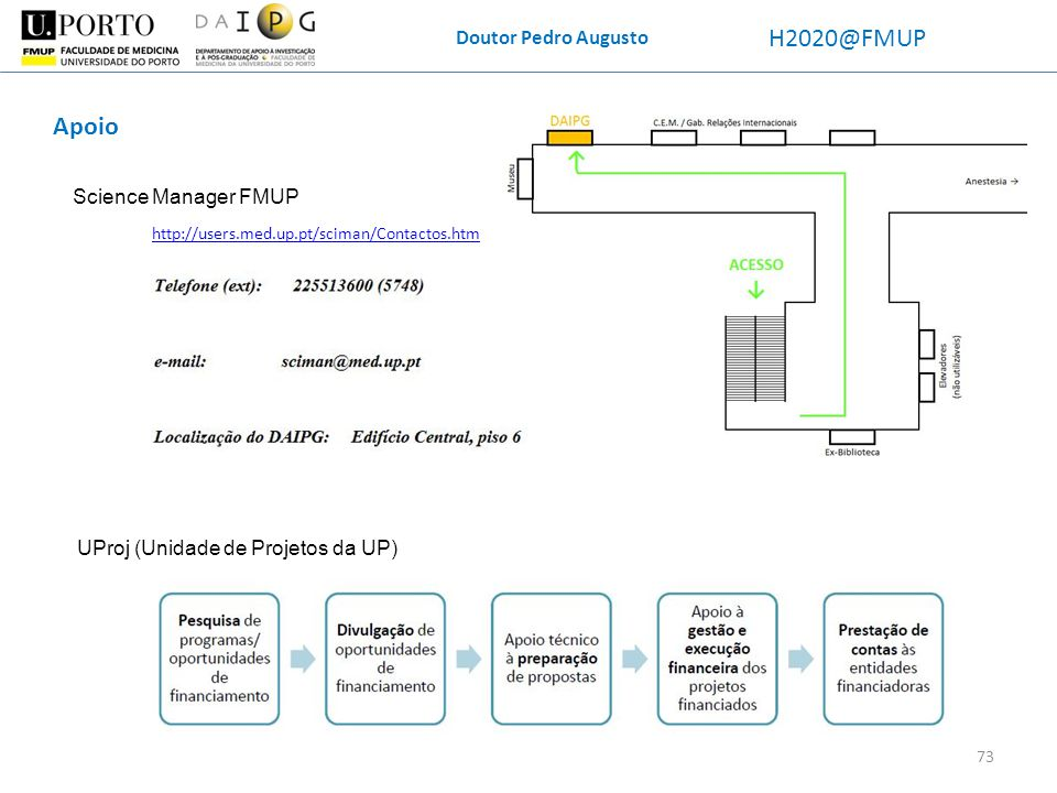 Doutor Pedro Augusto H2020@FMUP Apoio Science Manager FMUP 73 UProj (Unidade de Projetos da UP) http://users.med.up.pt/sciman/Contactos.htm