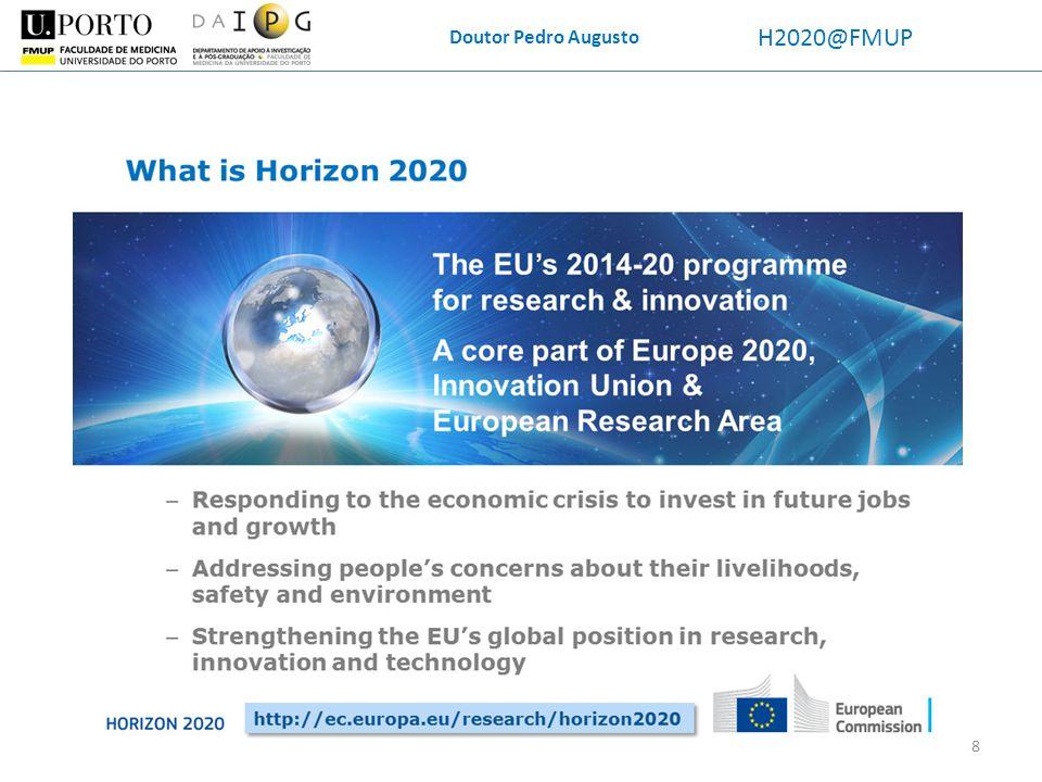 Doutor Pedro Augusto H2020@FMUP Horizon(te) 2020 Objetivos principais: i) manter a Europa como produtor mundial de excelência em Ciência; ii) reduzir bloqueios à exploração do conhecimento (intra-Europa); iii) otimizar o Espaço Europeu de Investigação e a União da Inovação (concentração de massas críticas).
