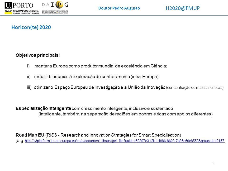 Doutor Pedro Augusto H2020@FMUP Horizon(te) 2020 Objetivos principais: i) manter a Europa como produtor mundial de excelência em Ciência; ii) reduzir