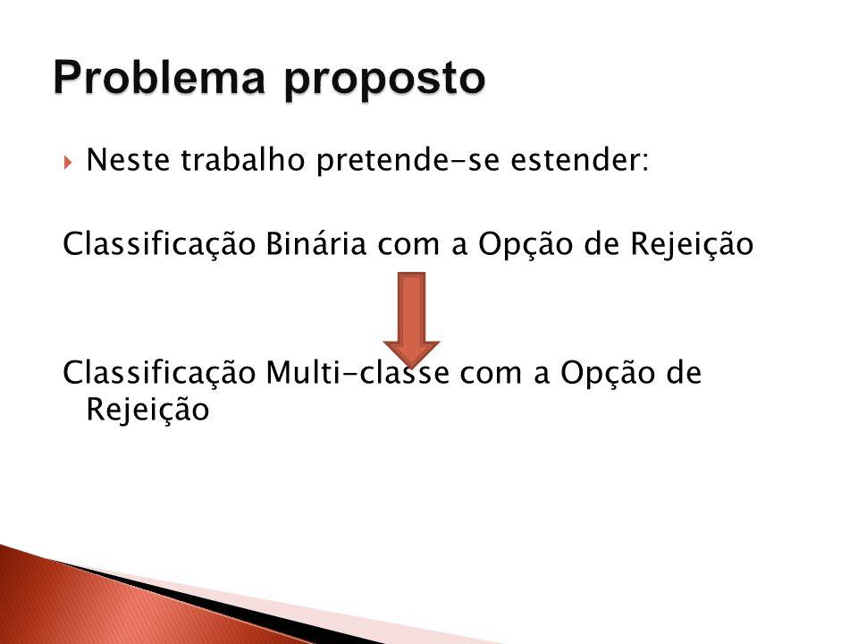 Neste trabalho pretende-se estender: Classificação Binária com a Opção de Rejeição Classificação Multi-classe com a Opção de Rejeição