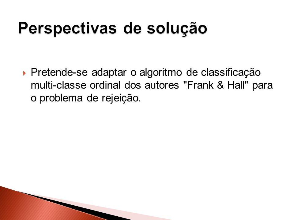 Pretende-se adaptar o algoritmo de classificação multi-classe ordinal dos autores Frank & Hall para o problema de rejeição.