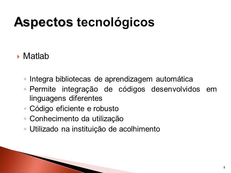 Matlab Integra bibliotecas de aprendizagem automática Permite integração de códigos desenvolvidos em linguagens diferentes Código eficiente e robusto Conhecimento da utilização Utilizado na instituição de acolhimento 8