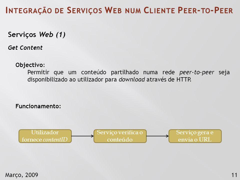 11Março, 2009 I NTEGRAÇÃO DE S ERVIÇOS W EB NUM C LIENTE P EER - TO -P EER Serviços Web (1) Get Content Objectivo: Permitir que um conteúdo partilhado