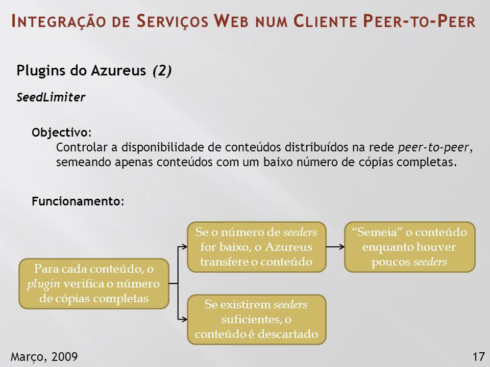 17Março, 2009 I NTEGRAÇÃO DE S ERVIÇOS W EB NUM C LIENTE P EER - TO -P EER Plugins do Azureus (2) SeedLimiter Objectivo: Controlar a disponibilidade d