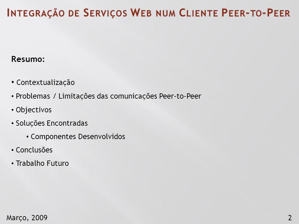 2Março, 2009 Resumo: Contextualização Problemas / Limitações das comunicações Peer-to-Peer Objectivos Soluções Encontradas Componentes Desenvolvidos C
