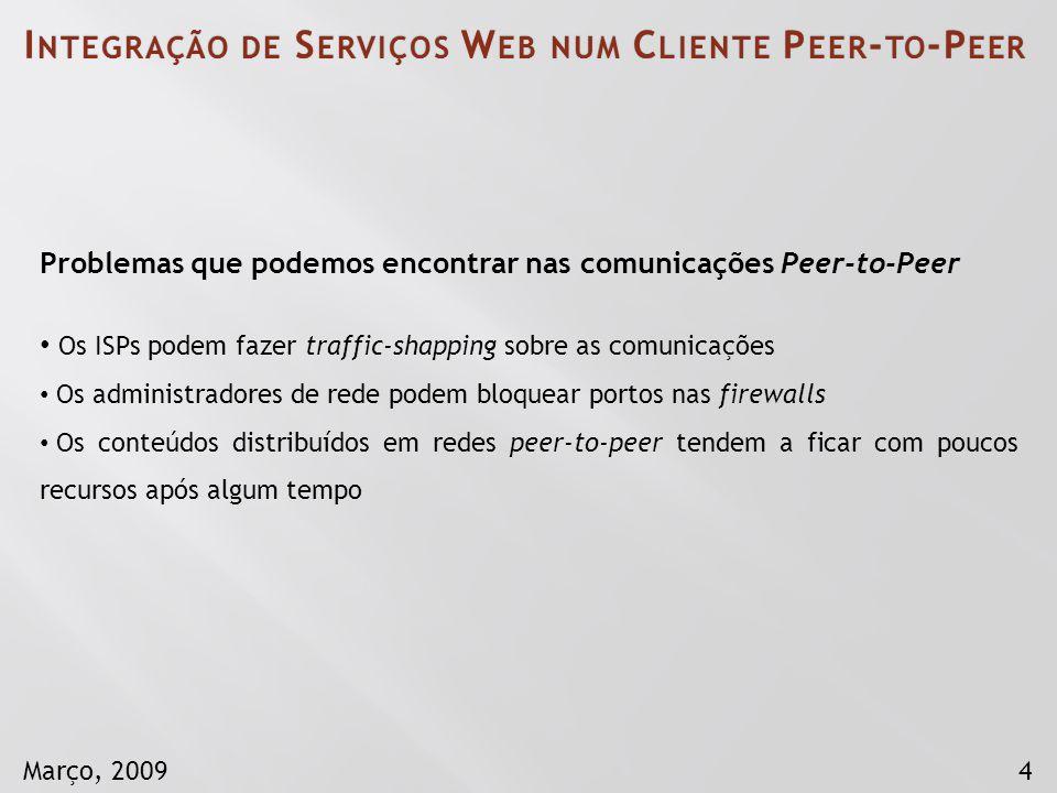 4Março, 2009 Problemas que podemos encontrar nas comunicações Peer-to-Peer Os ISPs podem fazer traffic-shapping sobre as comunicações Os administrador