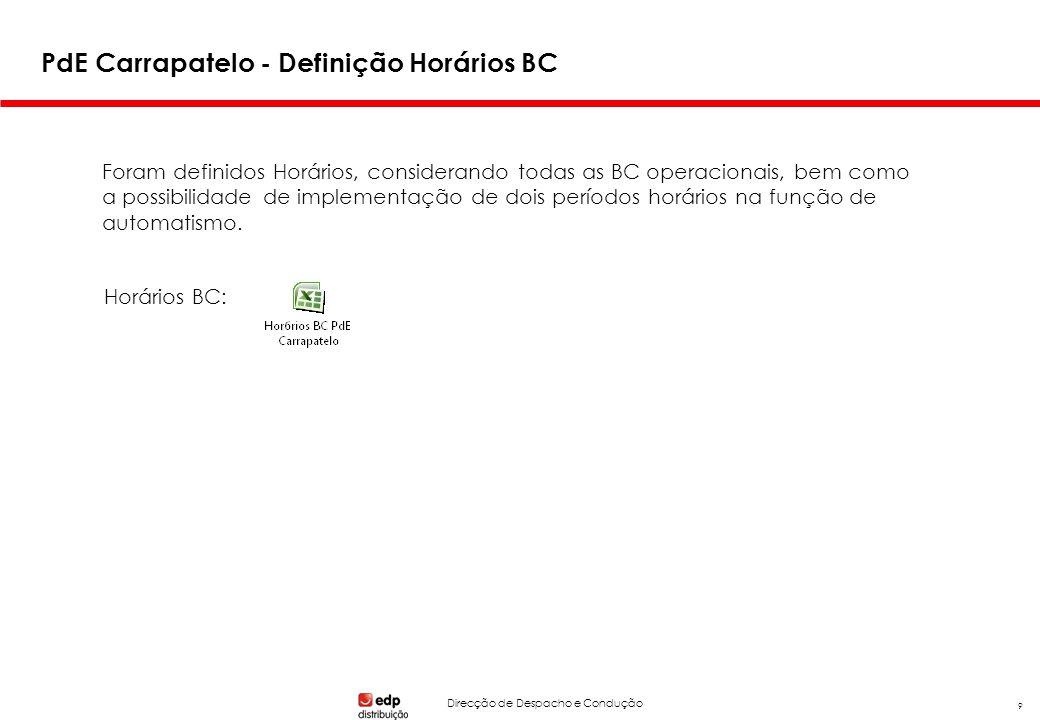 Direcção de Despacho e Condução 9 PdE Carrapatelo - Definição Horários BC Foram definidos Horários, considerando todas as BC operacionais, bem como a possibilidade de implementação de dois períodos horários na função de automatismo.
