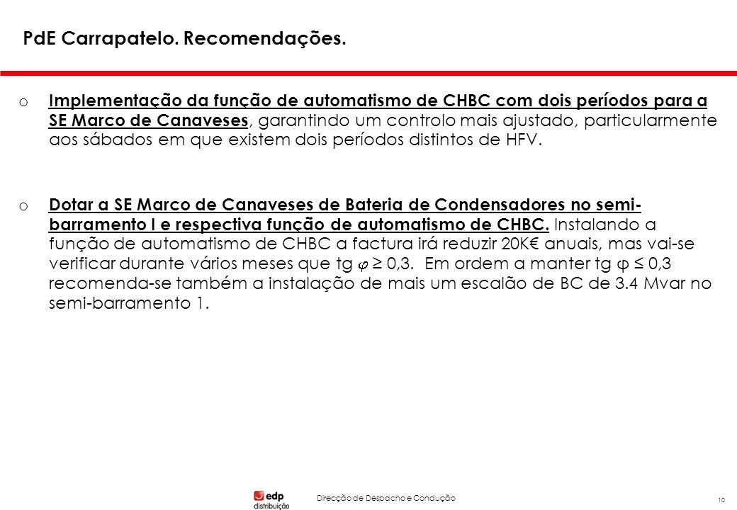 Direcção de Despacho e Condução 10 PdE Carrapatelo. Recomendações. o Implementação da função de automatismo de CHBC com dois períodos para a SE Marco
