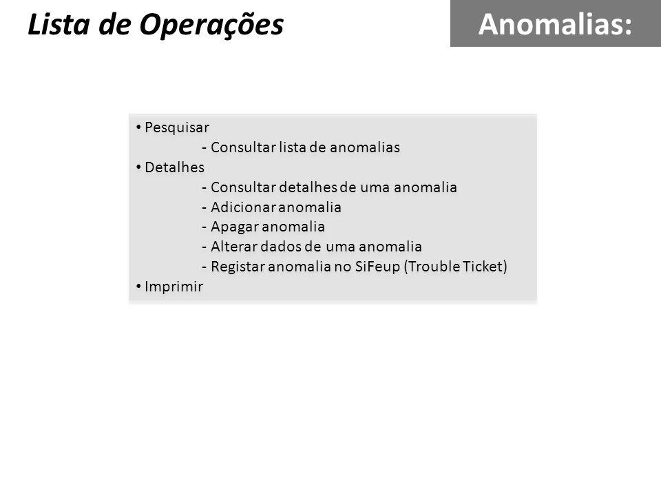 Pesquisar - Consultar lista de anomalias Detalhes - Consultar detalhes de uma anomalia - Adicionar anomalia - Apagar anomalia - Alterar dados de uma a