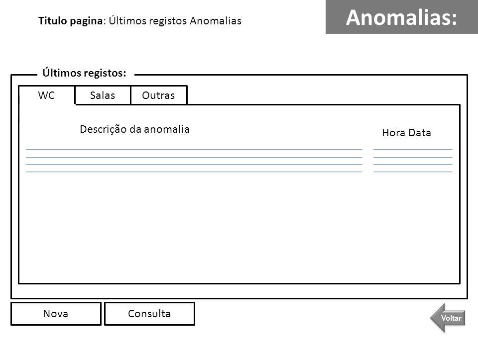 Anomalias: Descrição da anomalia Hora Data Últimos registos: SalasOutras NovaConsulta Titulo pagina: Últimos registos Anomalias WC