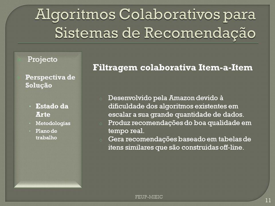 FEUP-MIEIC 11 Filtragem colaborativa Item-a-Item o Desenvolvido pela Amazon devido à dificuldade dos algoritmos existentes em escalar a sua grande quantidade de dados.