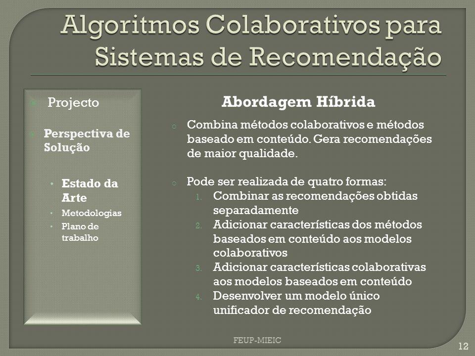 FEUP-MIEIC 12 Abordagem Híbrida o Combina métodos colaborativos e métodos baseado em conteúdo. Gera recomendações de maior qualidade. o Pode ser reali