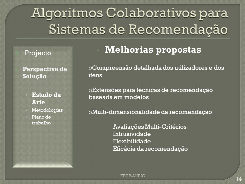 FEUP-MIEIC 14 Melhorias propostas o Compreensão detalhada dos utilizadores e dos itens o Extensões para técnicas de recomendação baseada em modelos o Multi-dimensionalidade da recomendação Avaliações Multi-Critérios Intrusividade Flexibilidade Eficácia da recomendação