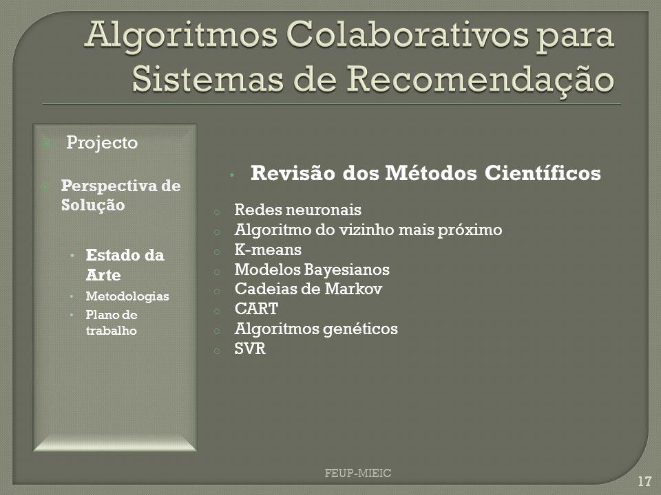 FEUP-MIEIC 17 o Redes neuronais o Algoritmo do vizinho mais próximo o K-means o Modelos Bayesianos o Cadeias de Markov o CART o Algoritmos genéticos o SVR Revisão dos Métodos Científicos