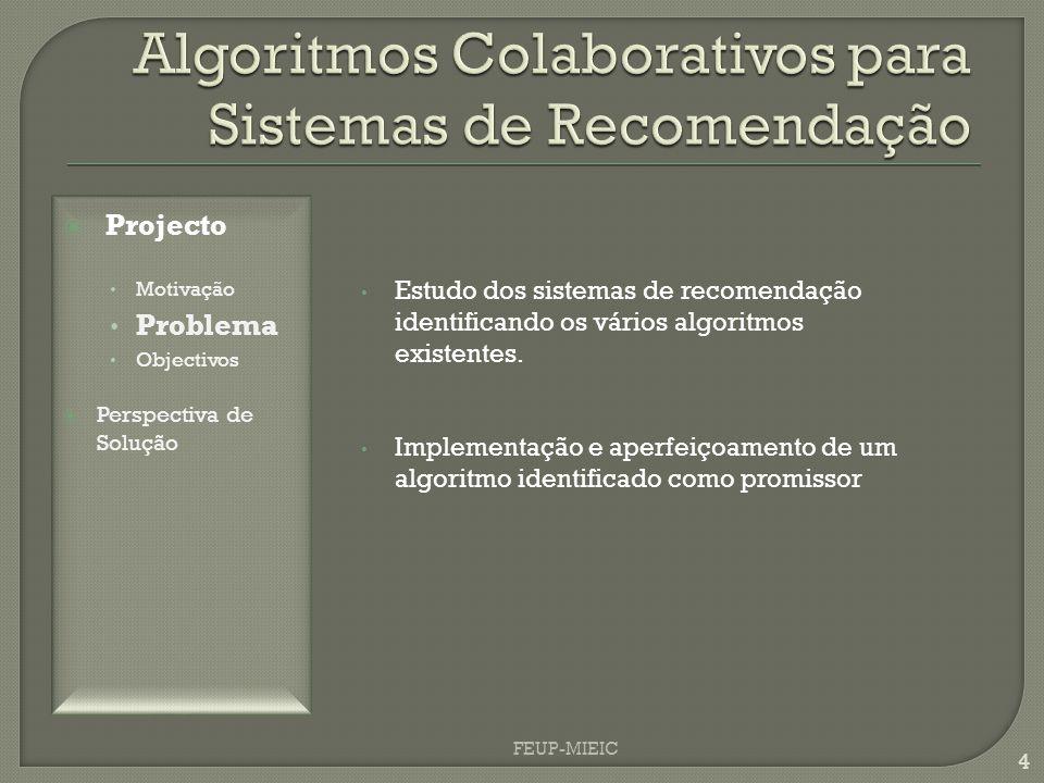 4 Estudo dos sistemas de recomendação identificando os vários algoritmos existentes. Implementação e aperfeiçoamento de um algoritmo identificado como