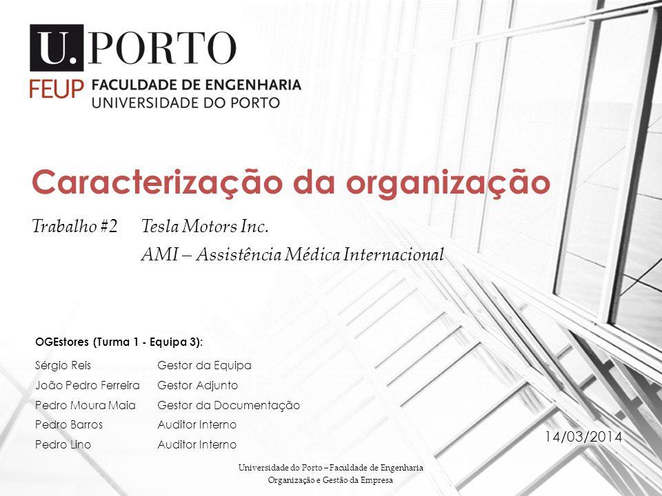 Trabalho #2Tesla Motors Inc. AMI – Assistência Médica Internacional Caracterização da organização Universidade do Porto – Faculdade de Engenharia Orga