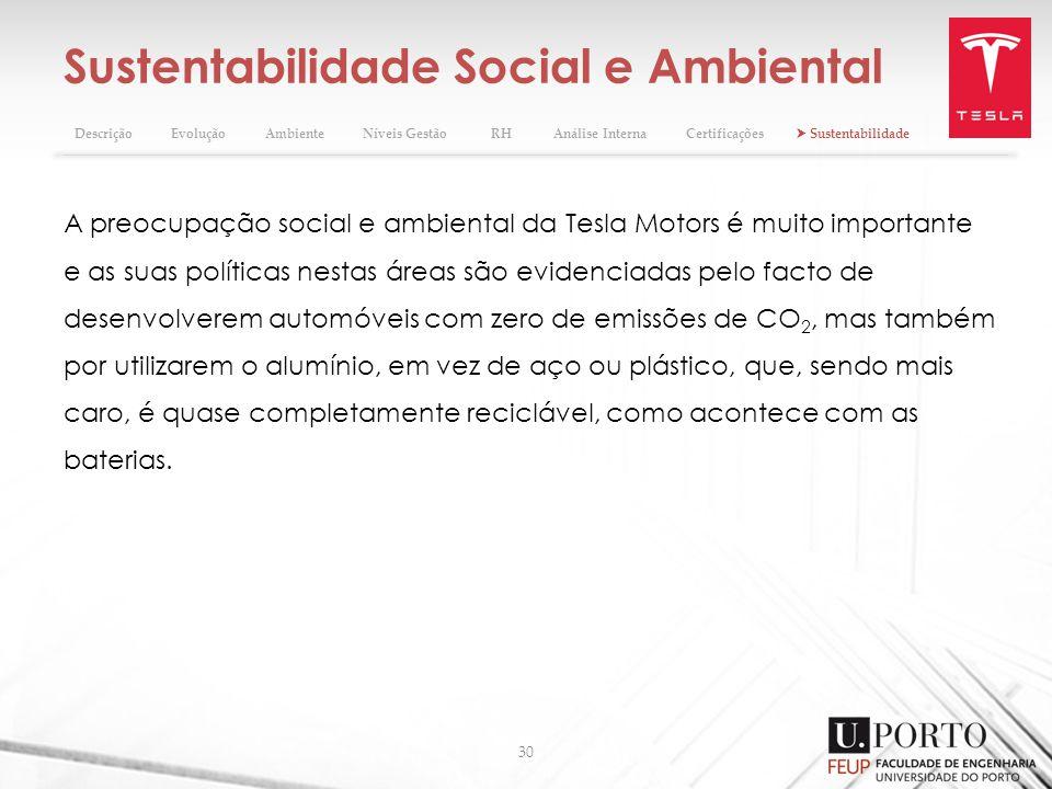 Sustentabilidade Social e Ambiental 30 A preocupação social e ambiental da Tesla Motors é muito importante e as suas políticas nestas áreas são eviden