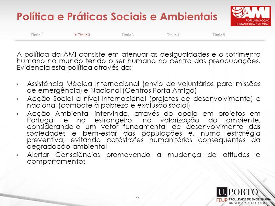 Política e Práticas Sociais e Ambientais Titulo 1 Titulo 2Titulo 3Titulo 4Titulo 5 58 A política da AMI consiste em atenuar as desigualdades e o sofri