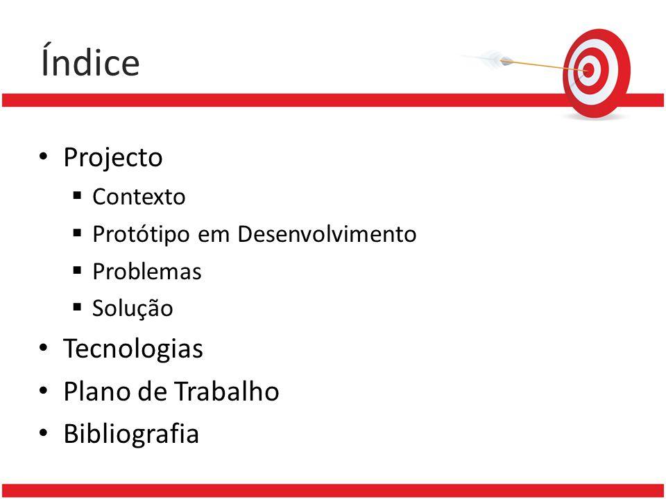Índice Projecto Contexto Protótipo em Desenvolvimento Problemas Solução Tecnologias Plano de Trabalho Bibliografia