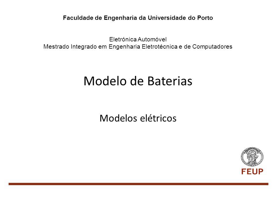 Modelo de Baterias - Modelos elétricos Importância do modelo O que deve modelar Modelos mais importantes Modelo modificado Perguntas Para a industria automóvel: Aumento da eficácia da bateria otimizando o seu uso; Reduzir o risco de Avarias; Redução de custos; Para o utilizador: Informação mais exata e em tempo útil da distância que pode percorrer; Antecipação da necessidade de manutenção ou substituição do equipamento; Informação sobre avaria;
