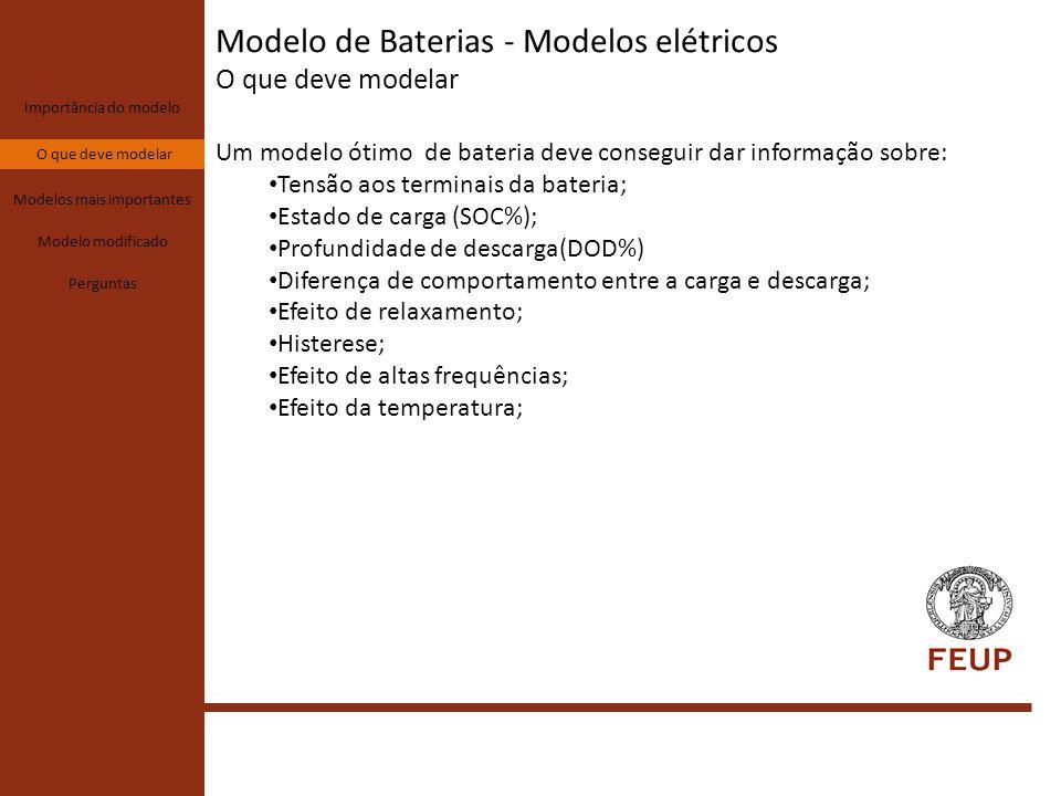 Modelo de Baterias - Modelos elétricos O que deve modelar Importância do modelo O que deve modelar Modelos mais importantes Modelo modificado Perguntas