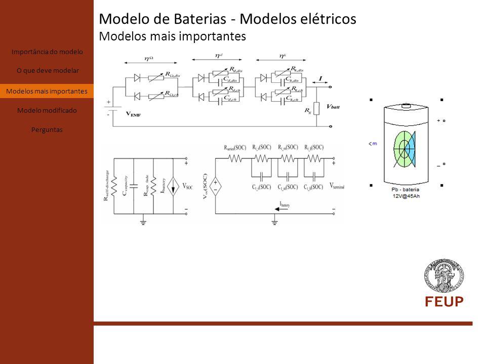 Modelo de Baterias - Modelos elétricos Modelo modificado Importância do modelo O que deve modelar Modelos mais importantes Modelo modificado Perguntas