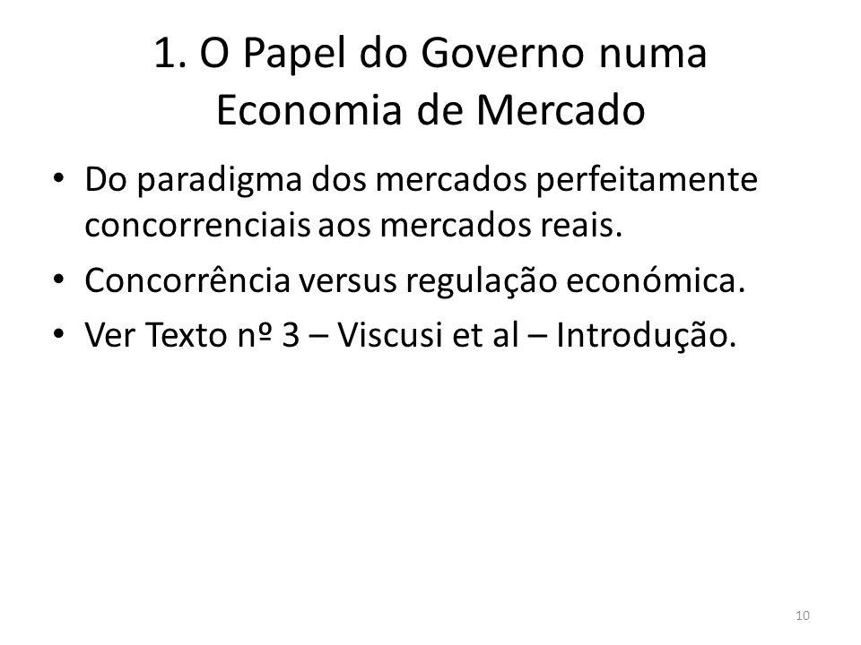 1. O Papel do Governo numa Economia de Mercado Do paradigma dos mercados perfeitamente concorrenciais aos mercados reais. Concorrência versus regulaçã