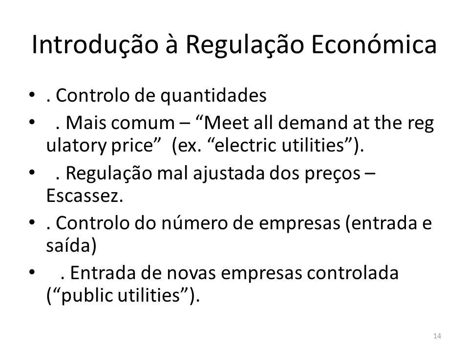 Introdução à Regulação Económica. Controlo de quantidades. Mais comum – Meet all demand at the reg ulatory price (ex. electric utilities).. Regulação