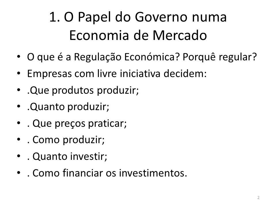 1. O Papel do Governo numa Economia de Mercado O que é a Regulação Económica? Porquê regular? Empresas com livre iniciativa decidem:.Que produtos prod