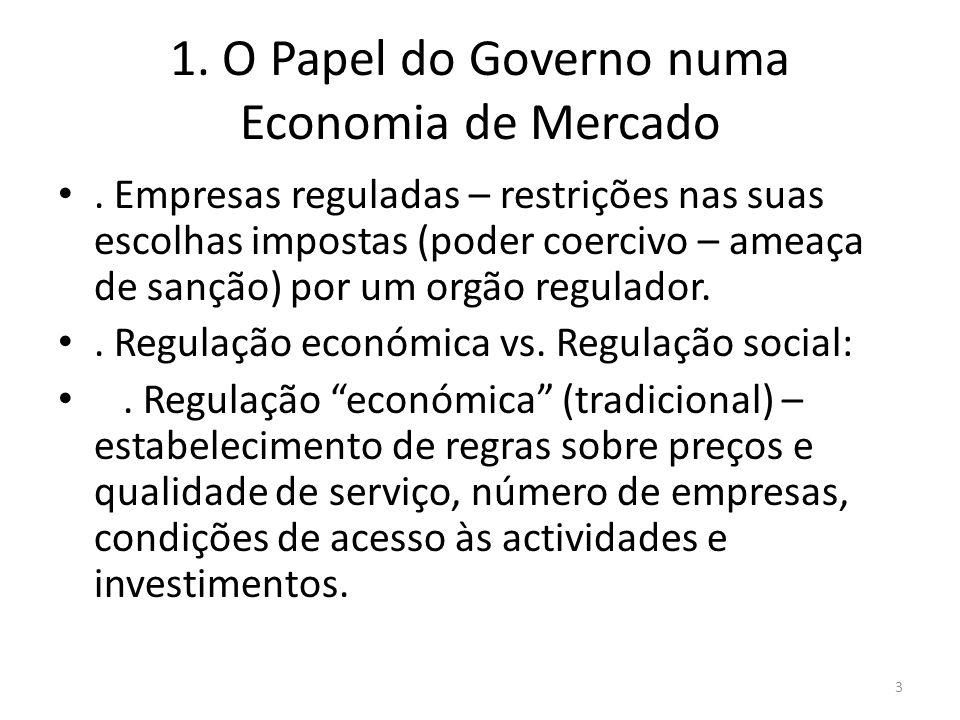 1. O Papel do Governo numa Economia de Mercado. Empresas reguladas – restrições nas suas escolhas impostas (poder coercivo – ameaça de sanção) por um