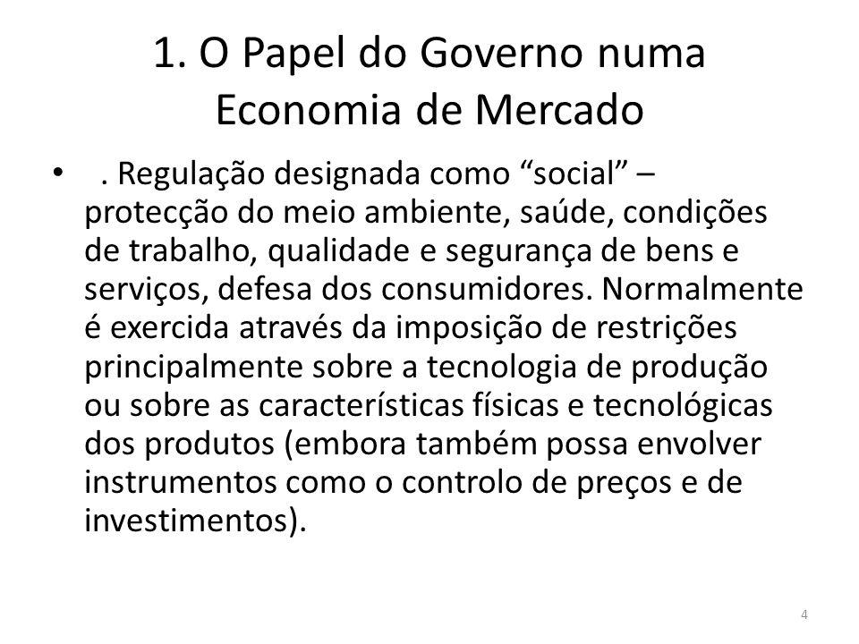 1. O Papel do Governo numa Economia de Mercado. Regulação designada como social – protecção do meio ambiente, saúde, condições de trabalho, qualidade