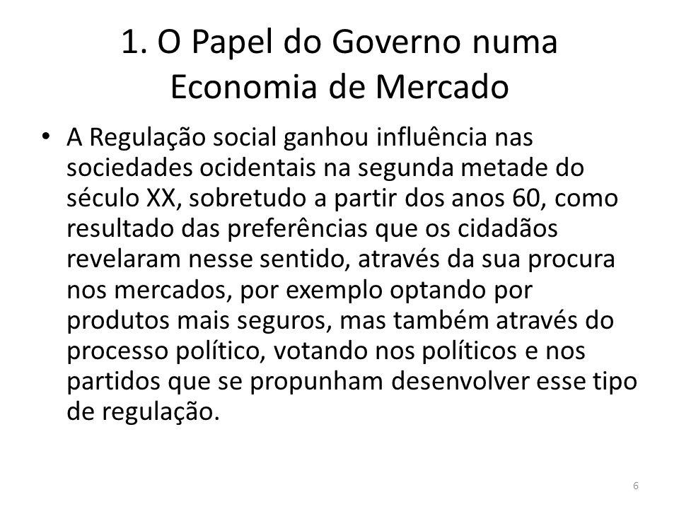 1. O Papel do Governo numa Economia de Mercado A Regulação social ganhou influência nas sociedades ocidentais na segunda metade do século XX, sobretud