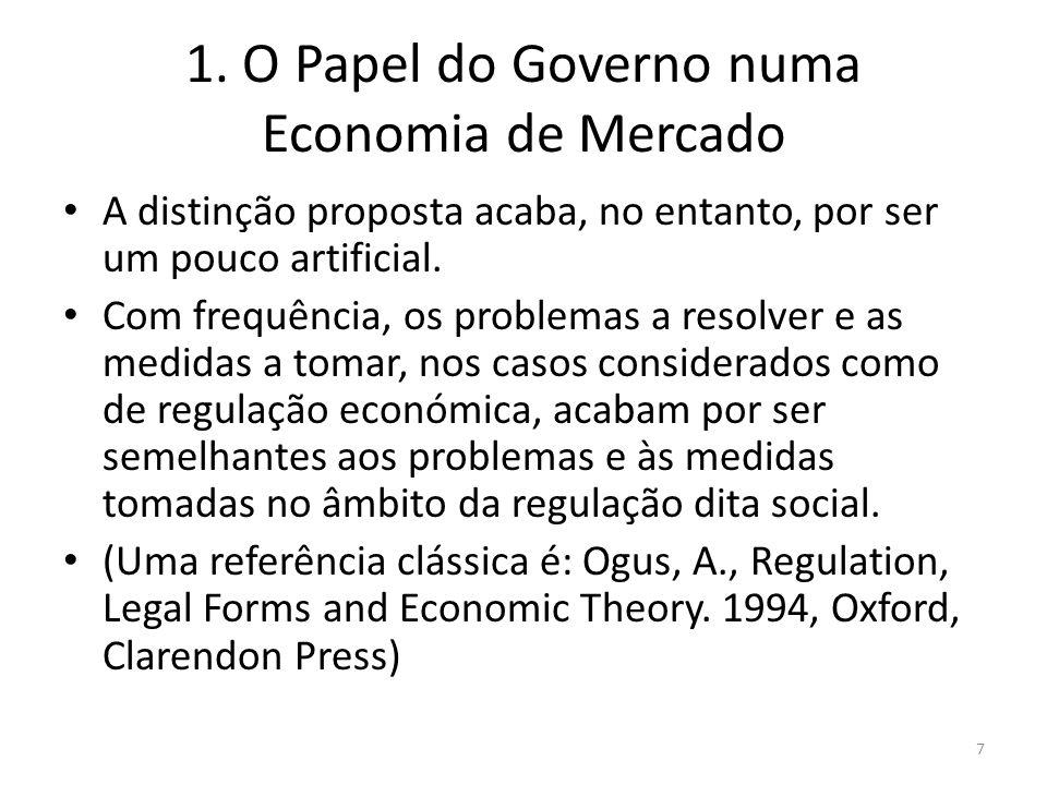 1. O Papel do Governo numa Economia de Mercado A distinção proposta acaba, no entanto, por ser um pouco artificial. Com frequência, os problemas a res