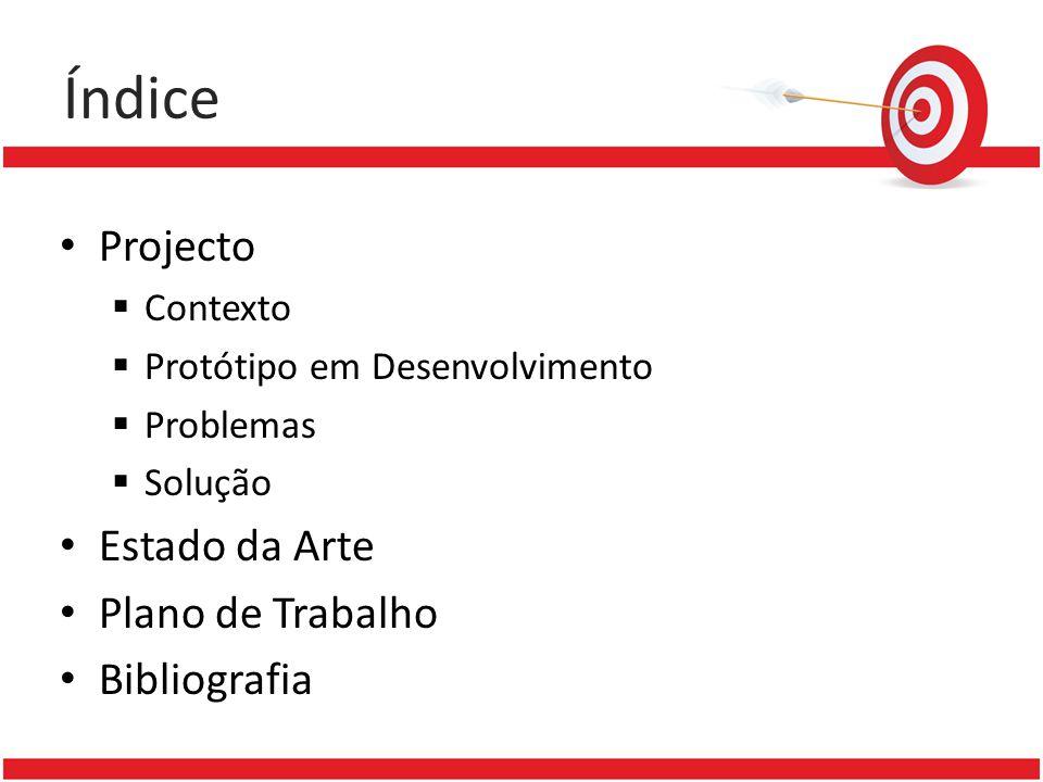 Índice Projecto Contexto Protótipo em Desenvolvimento Problemas Solução Estado da Arte Plano de Trabalho Bibliografia