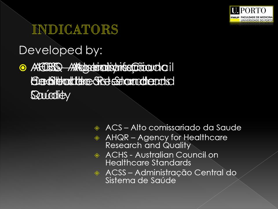 ACHS - Australian Council on Healthcare Standards AHRQ - Agency for Healthcare Research and Quality ACSS - Administração Central do Sistema de Saúde Developed by: ACS - Alto comissariado da Saude ACS – Alto comissariado da Saude AHQR – Agency for Healthcare Research and Quality ACHS - Australian Council on Healthcare Standards ACSS – Administração Central do Sistema de Saúde