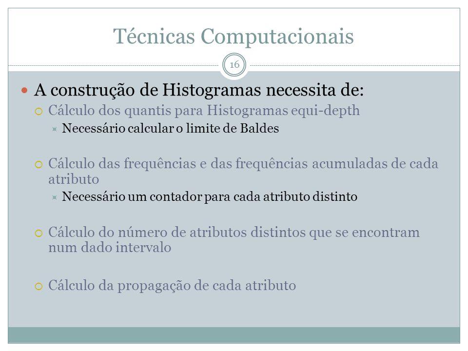 Técnicas Computacionais A construção de Histogramas necessita de: Cálculo dos quantis para Histogramas equi-depth Necessário calcular o limite de Baldes Cálculo das frequências e das frequências acumuladas de cada atributo Necessário um contador para cada atributo distinto Cálculo do número de atributos distintos que se encontram num dado intervalo Cálculo da propagação de cada atributo 16