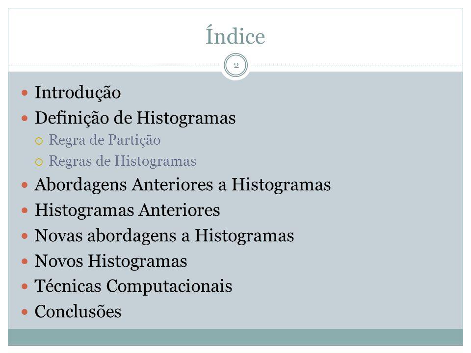 Índice Introdução Definição de Histogramas Regra de Partição Regras de Histogramas Abordagens Anteriores a Histogramas Histogramas Anteriores Novas ab