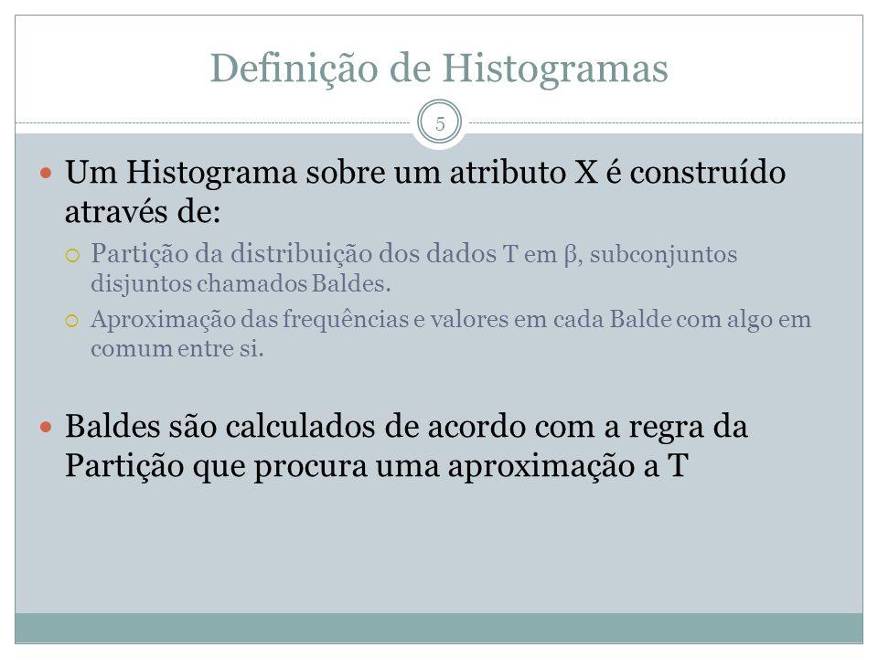 Definição de Histogramas Um Histograma sobre um atributo X é construído através de: Partição da distribuição dos dados T em β, subconjuntos disjuntos chamados Baldes.