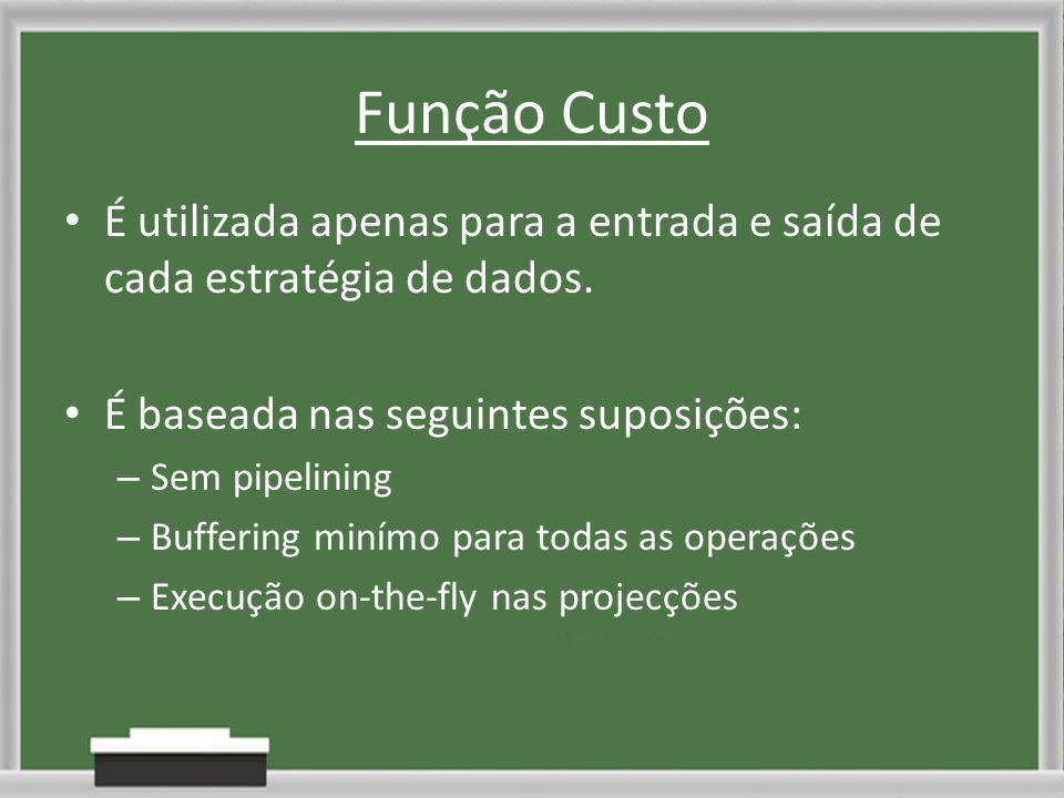 Função Custo É utilizada apenas para a entrada e saída de cada estratégia de dados.