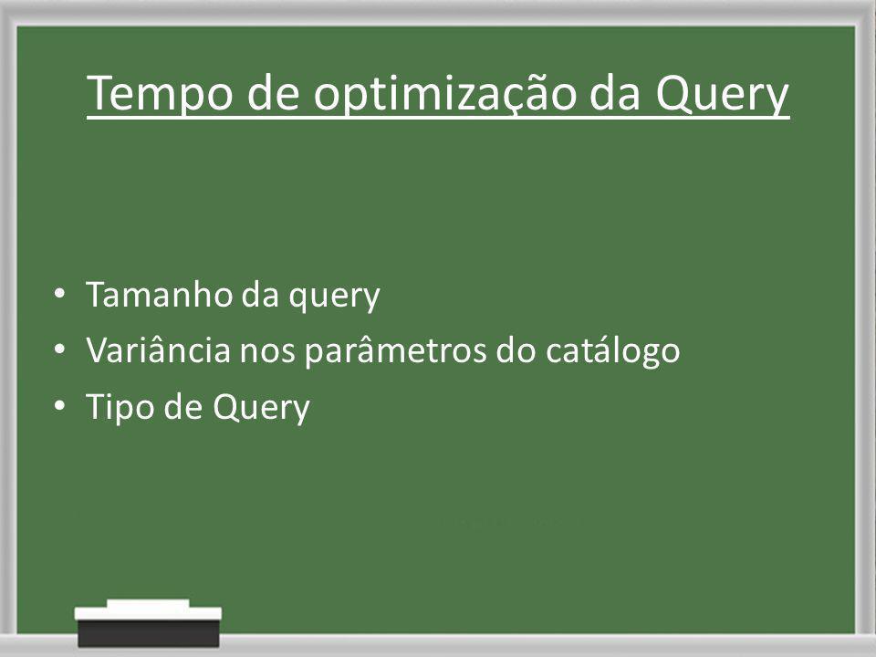 Tempo de optimização da Query Tamanho da query Variância nos parâmetros do catálogo Tipo de Query