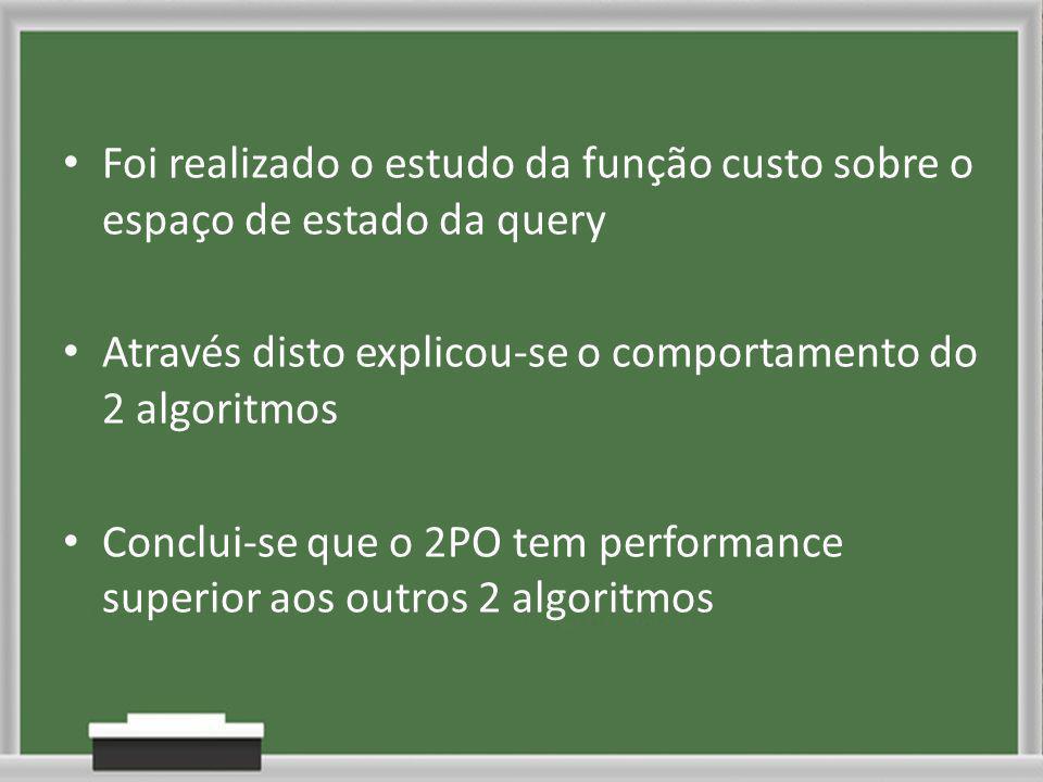 Foi realizado o estudo da função custo sobre o espaço de estado da query Através disto explicou-se o comportamento do 2 algoritmos Conclui-se que o 2PO tem performance superior aos outros 2 algoritmos
