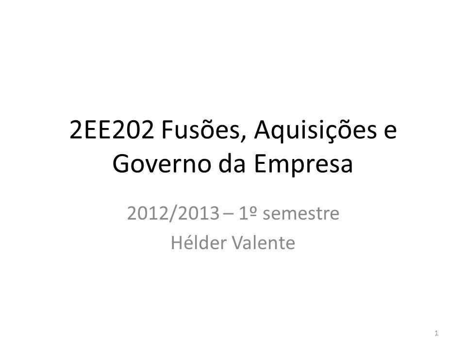 2EE202 Fusões, Aquisições e Governo da Empresa 2012/2013 – 1º semestre Hélder Valente 1