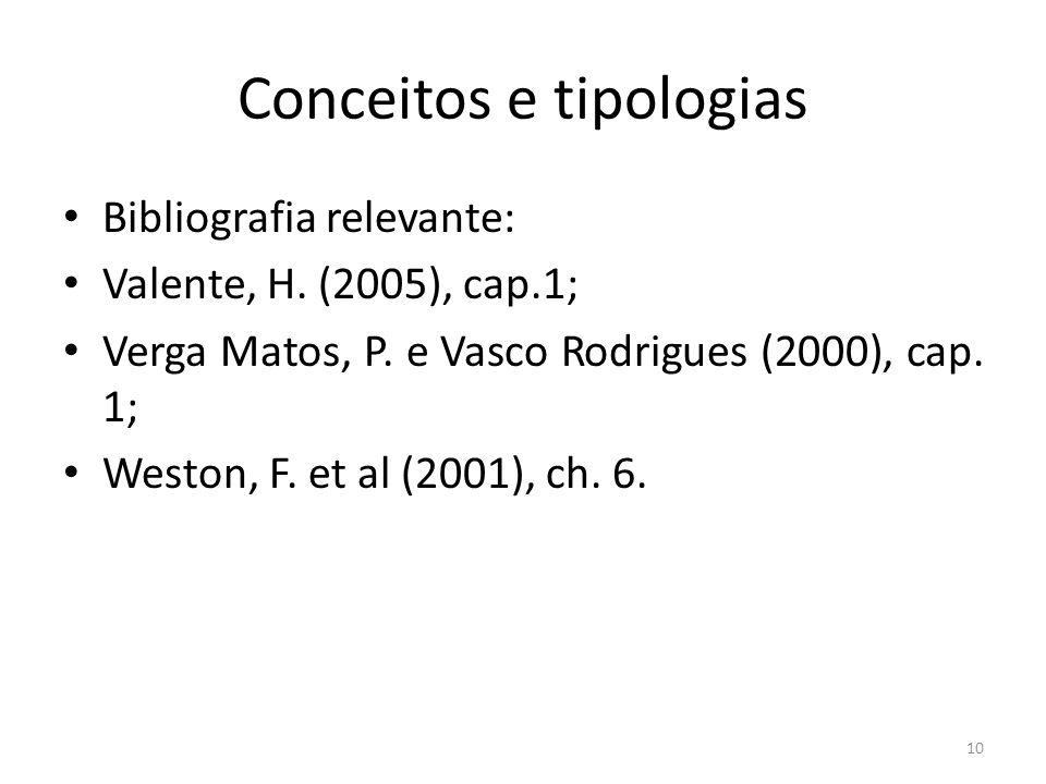 Conceitos e tipologias Bibliografia relevante: Valente, H. (2005), cap.1; Verga Matos, P. e Vasco Rodrigues (2000), cap. 1; Weston, F. et al (2001), c