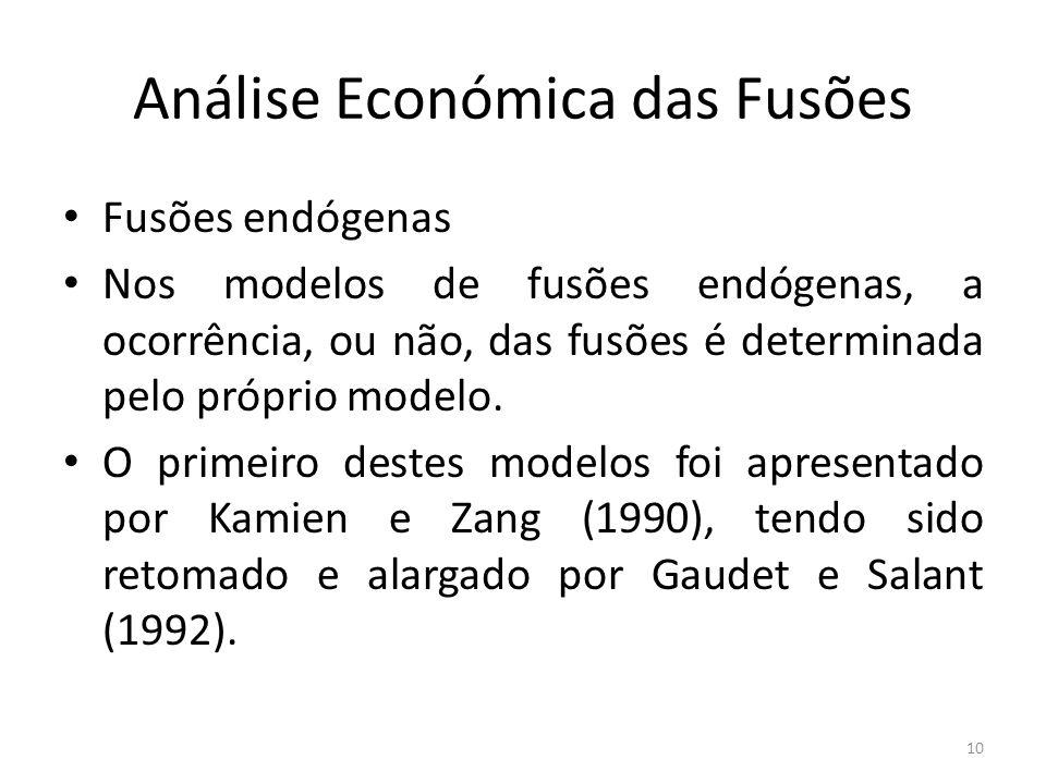 Análise Económica das Fusões Fusões endógenas Nos modelos de fusões endógenas, a ocorrência, ou não, das fusões é determinada pelo próprio modelo.