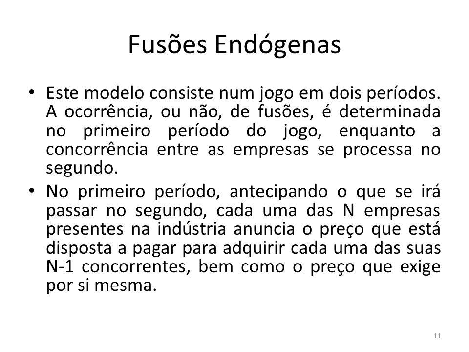 Fusões Endógenas Este modelo consiste num jogo em dois períodos.